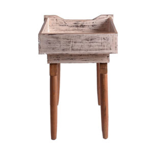 Antiqued White Upcycled Drawer Table-344