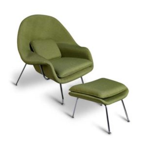 Womb Chair And Ottoman Replica - Green-0