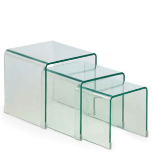 Arch Tea Nest Table Set of 3 in Transparent Finish-0