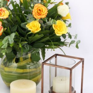 Cuboid Candleholder - Antique Copper (Small)-2216