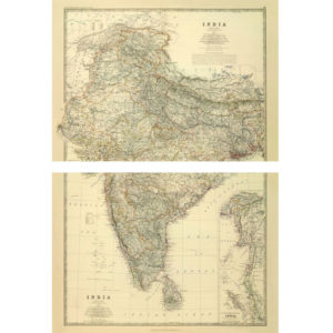 Large map of India by Keith Johnston [1861] - 2 Piece Framless-0