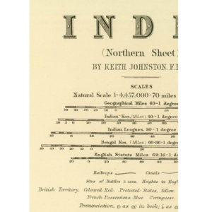 Large map of India by Keith Johnston [1861] - 4 Piece Framless-3375