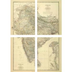 Large map of India by Keith Johnston [1861] - 4 Piece Framless-0