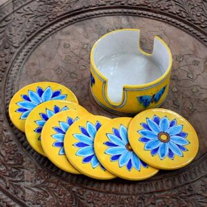 Coaster Set With Holder - Yellow-0