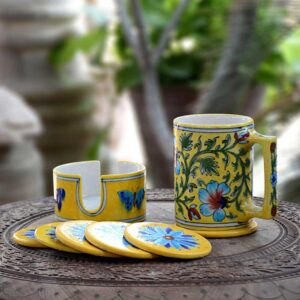 Coaster Set With Holder - Yellow-4024