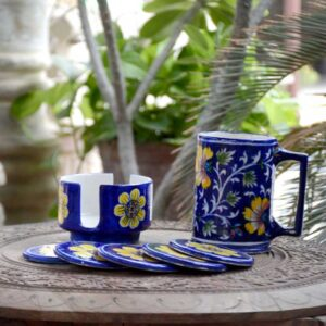 Coaster Set With Holder - Blue And Yellow-4051