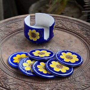 Coaster Set With Holder - Blue And Yellow-0
