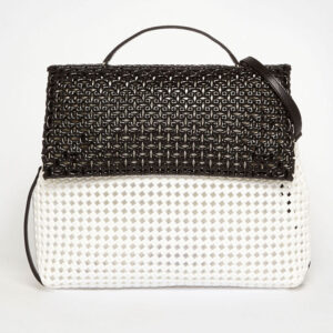 White - Black Recycled Plastic Weave Sling Bag-0