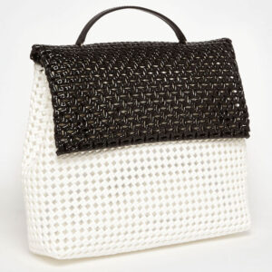 White - Black Recycled Plastic Weave Sling Bag-5253