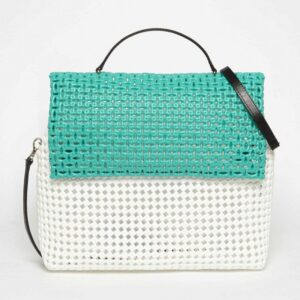 White - Green Recycled Plastic Weave Sling Bag-0