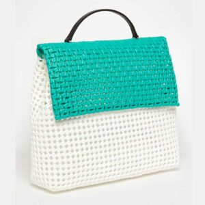 White - Green Recycled Plastic Weave Sling Bag-5277