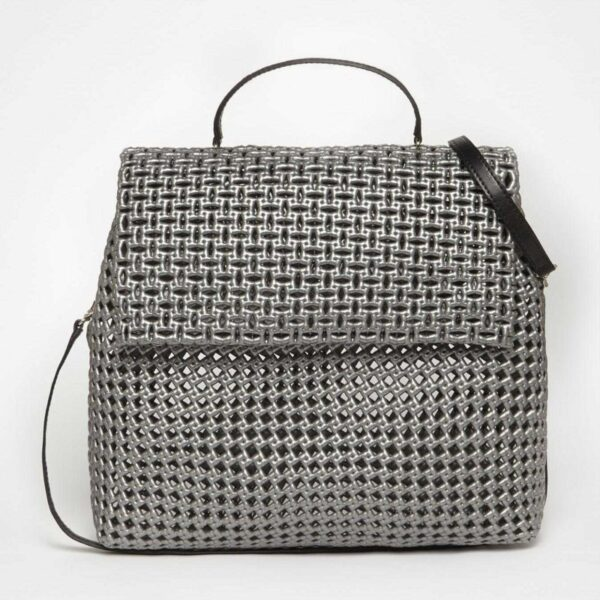 Grey Recycled Plastic Weave Sling Bag-0