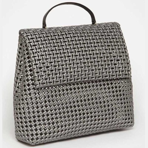 Grey Recycled Plastic Weave Sling Bag-5297