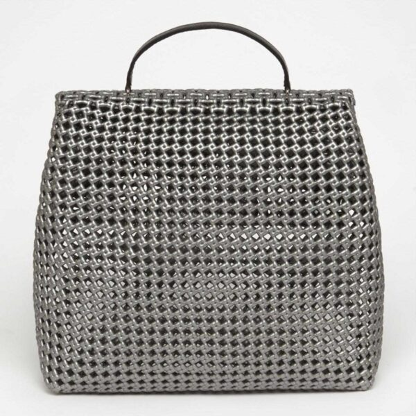 Grey Recycled Plastic Weave Sling Bag-5298