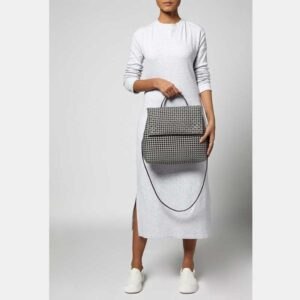 Grey Recycled Plastic Weave Sling Bag-5301