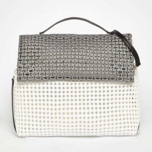 White - Grey Recycled Plastic Weave Sling Bag-0