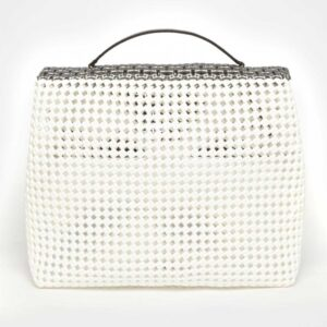 White - Grey Recycled Plastic Weave Sling Bag-5307