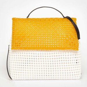 White - Orange Recycled Plastic Weave Sling Bag-0
