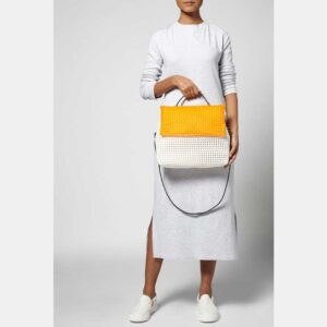 White - Orange Recycled Plastic Weave Sling Bag-5288