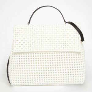 White Recycled Plastic Weave Sling Bag-0