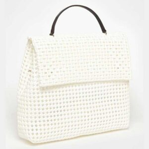 White Recycled Plastic Weave Sling Bag-5317