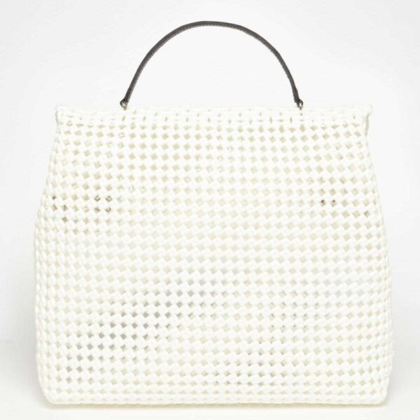 White Recycled Plastic Weave Sling Bag-5318