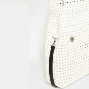 White Recycled Plastic Weave Sling Bag-5321