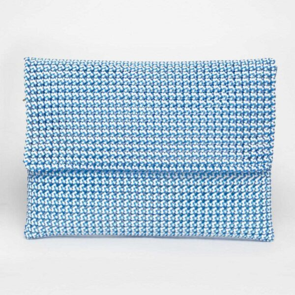 White - Blue Recycled Plastic Weave Clutch-0
