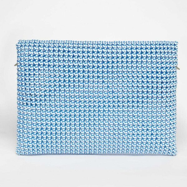 White - Blue Recycled Plastic Weave Clutch-5328