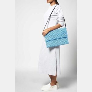 White - Blue Recycled Plastic Weave Clutch-5330