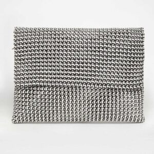 White - Black Recycled Plastic Weave Clutch-0
