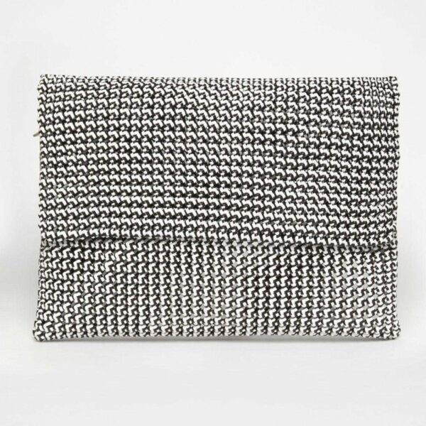 White - Grey Recycled Plastic Weave Clutch-0