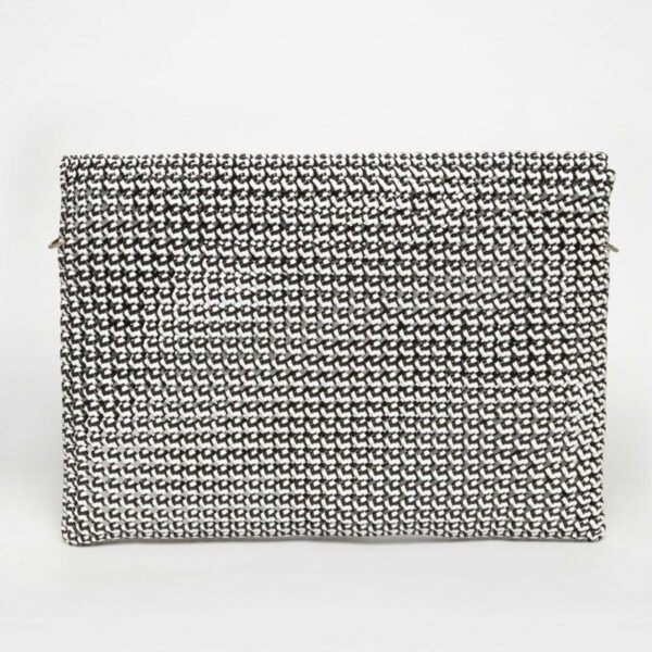 White - Black Recycled Plastic Weave Clutch-5336