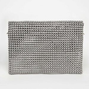 White - Grey Recycled Plastic Weave Clutch-5340
