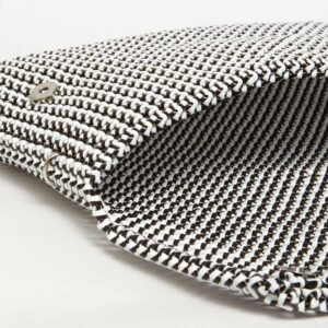 White - Black Recycled Plastic Weave Clutch-5335