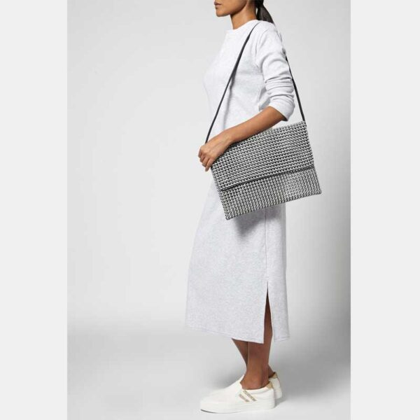 White - Grey Recycled Plastic Weave Clutch-5342