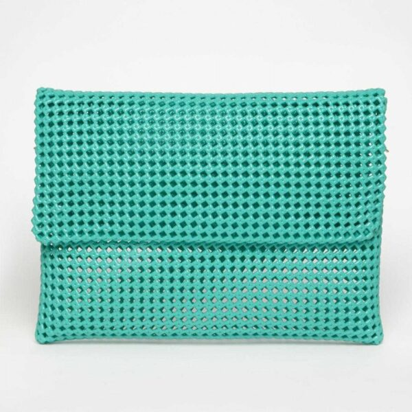 Green Recycled Plastic Weave Clutch-0