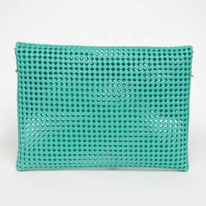 Green Recycled Plastic Weave Clutch-5347