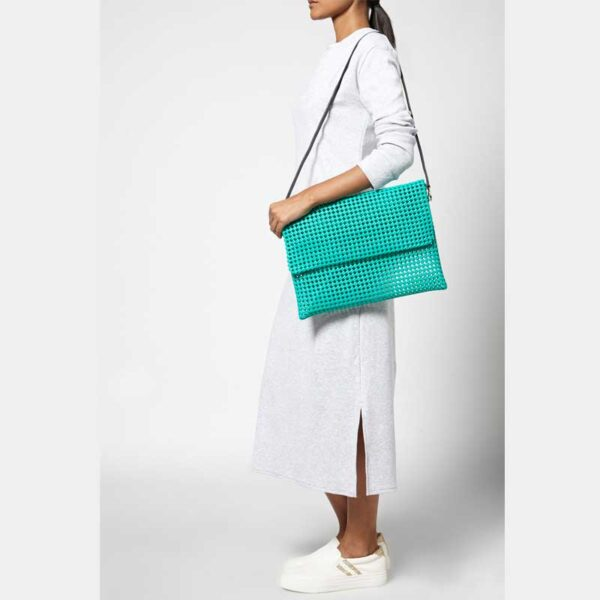 Green Recycled Plastic Weave Clutch-5350