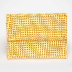 White - Orange Recycled Plastic Weave Clutch-0