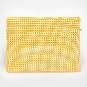 White - Orange Recycled Plastic Weave Clutch-5356