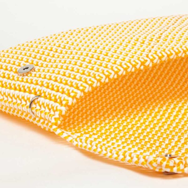 White - Orange Recycled Plastic Weave Clutch-5358