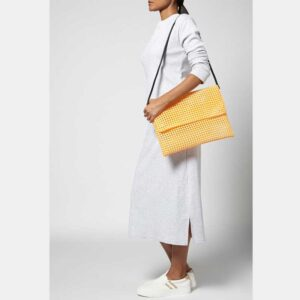 White - Orange Recycled Plastic Weave Clutch-5357