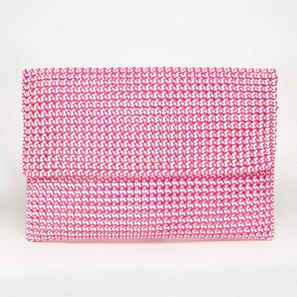 White - Pink Recycled Plastic Weave Clutch-0