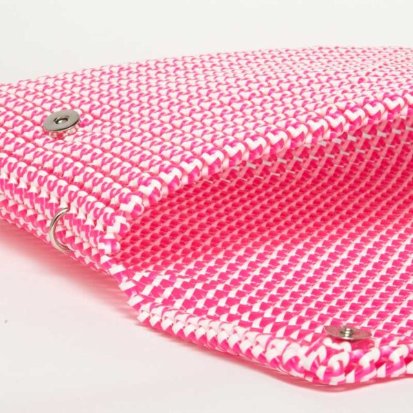 White - Pink Recycled Plastic Weave Clutch-5363