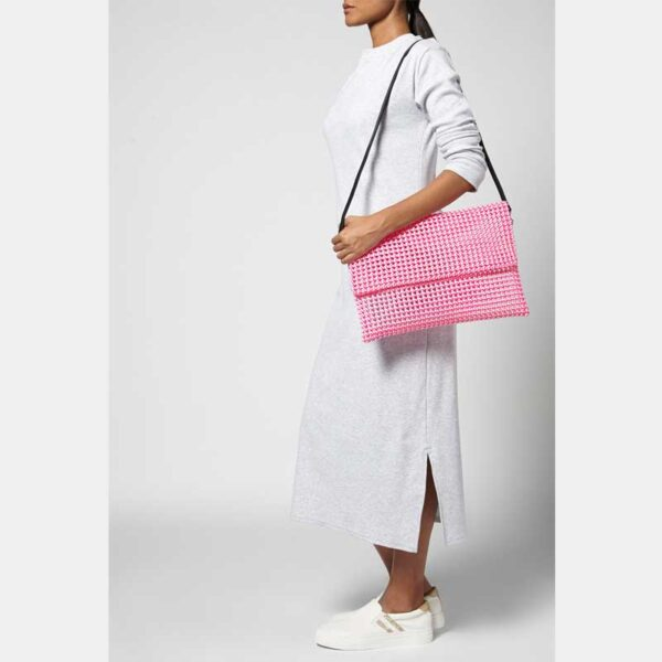 White - Pink Recycled Plastic Weave Clutch-5366