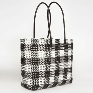 Black - Grey Recycled Plastic Weave Tote-0