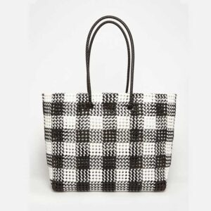 Black - Grey Recycled Plastic Weave Tote-5372