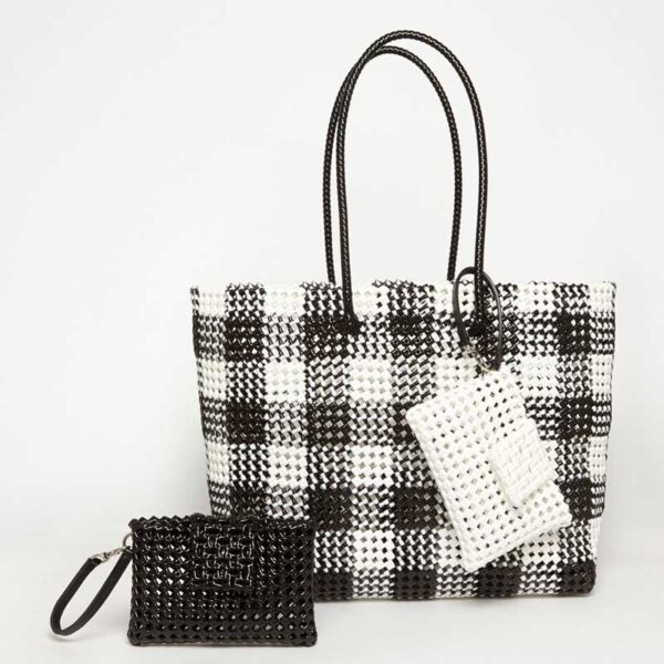 Black - Grey Recycled Plastic Weave Tote-5373