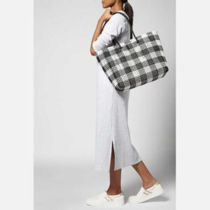 Black - Grey Recycled Plastic Weave Tote-5371